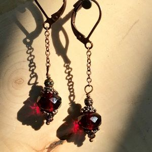 Long chain dark red Cranberry earrings